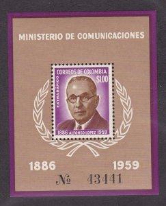 Colombia #  C396, Alfonso Lopez, Souvenir Sheet, NH, 1/2 Cat.