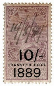 (I.B) QV Revenue : Transfer Duty 10/- (1889)