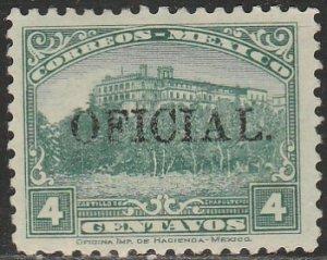 MEXICO O185, 4¢ OFFICIAL. Unused, H OG. F-VF.