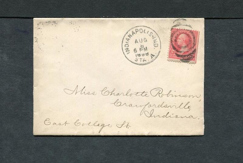 Postal History - Indianapolis IN 1898 Black Tall Oval Target Cancel Cover B0464