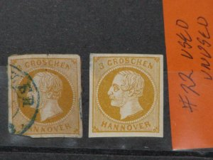 GERMANY-HANOVER, SCOTT# 22 UNUSED (THIN) USED (CORNER CUT), 1 OF EACH
