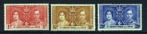 ST.KITTS-NEVIS KG VI 1937 The Coronation Set SG 65 to SG 67 MINT