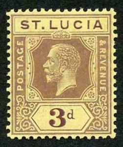 St Lucia SG82b 3d purple on pale yellow DIE II Fresh M/Mint (hinge remainder)