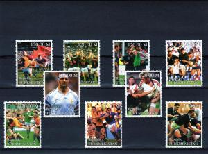 Turkmenistan 2000 Rugby World Cup Set (9)  Perf.MNH VF