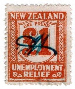 (I.B) New Zealand Revenue : Unemployment Relief £1 (1931)