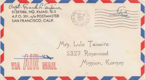 United States Korean War Soldier's Free Mail 1952 Army-Air Force Postal Servi...