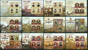 PE375-386 2015 MALI GREAT FIELDS OF BATTLES WORLD WAR I & II 12KB MNH