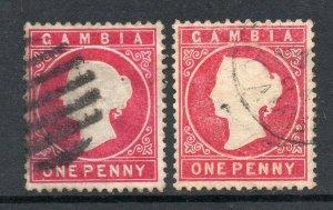 Gambia 1886 1d aniline carmine & 1d pale carmine SG 23a, 23b used CV £28