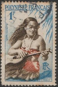 POLYNÉSIE FRANÇAISE - 1958 - Yv.3/Mi.3 1fr Joueuse de Guitare - Obl. B