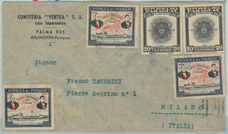 67229 -  PARAGUAY - Postal History -  ADVERTISING COVER to  ITALY 1949 - BOAT