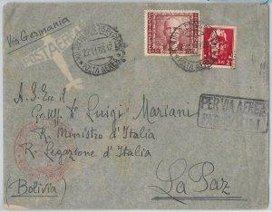 46955 - REGNO: storia postale - Sass Posta aerea 115 su BUSTA a BOLIVIA 1938