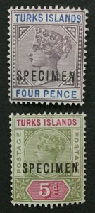 MOMEN: TURKS ISLANDS SG #71s-72s SPECIMEN MINT OG H LOT #191727-680