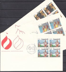 Canada, Scott cat. 681-683. Montreal Olympics, Blks of 4. 3 First day covers. ^