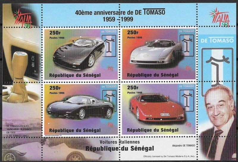 Senegal MNH S/S Tomasso Italian Cars 1999