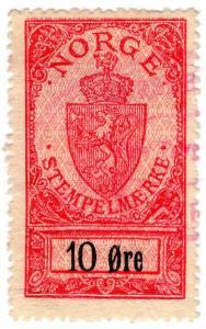 (I.B) Norway Revenue : Stempelmaerke  10 Øre