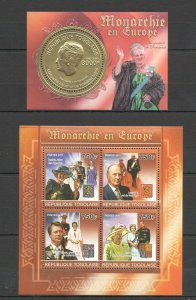 TG1099 2011 TOGO ROYAL FAMILIES ROYALTY MONARCHY IN EUROPE !! GOLD 1KB+1BL MNH