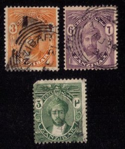 ZANZIBAR Scott 121,185,187 Used Lot Of Three Sultan Faces F-VF (1913-1926):