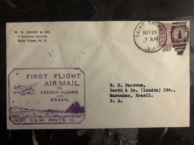 1930 Saint Tomas VIrgin Island Usa first flight cover FFC To Maranhao Brazil