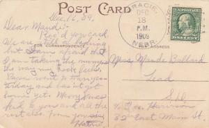 United States Nebraska Gracie 1909 4a-bar  1905-1934  PC  Small water stain a...