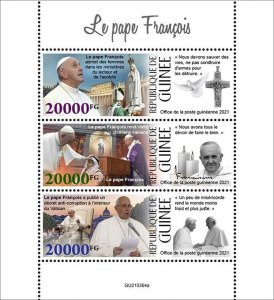 GUINEA - 2021 - Pope Francis - Perf 3v Sheet - Mint Never Hinged