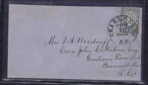 SCOTT# CSA 16X1 5c ON COVER TIED CHARLESTON SC 1861 PMK, PF CERT. GEM!