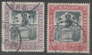 BARBADOS 1906 NELSON CENTENARY 6D AND 1/-