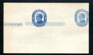 1c Blue McKinley on Bluish, Postal Card, Double Impression UX22a VF