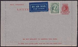AUSTRALIA GVI 2½d lettercard unused uprated with 1½d adhesive for airmail...3704