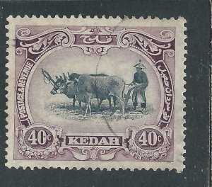 KEDAH 1921-32 40c BLACK & PURPLE TYPE 2 FU SG 35c CAT £35