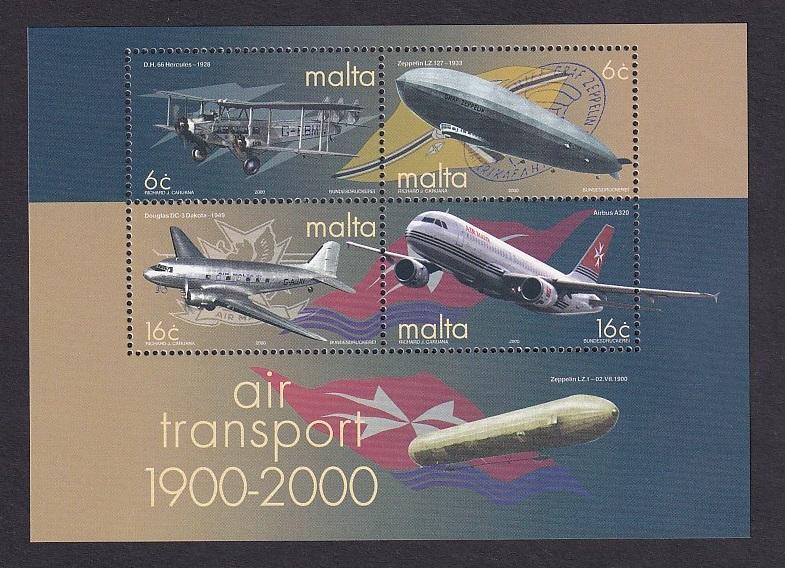 Malta   #1013-1016b   MNH  2000 sheet  air transportation.  Douglas DC3  Airbus
