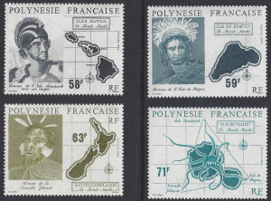French Polynesia #534-7 MNH, set, Maohi settlers & maps, issued 1990