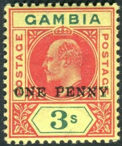 GAMBIA-1906 1d on 3/- Carmine & Green/Yellow.  A lightly mounted mint  Sg 70