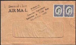GRENADA 1962 cover scarce AGRICULTURAL EXHIBITION handstruck slogan........73681