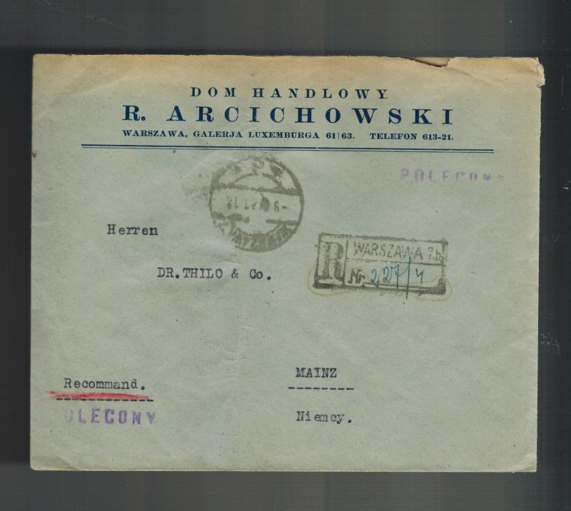1931 Warsaw Poland Registered Cover to Mainz Germany