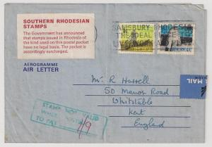 RHODESIA 1970 Defin. #277 281 on AIRLETTER Stamps Not Valid
