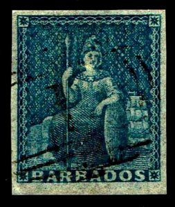 1855-58 Barbados #6 Britannia Unwatermarked - Used - VF - CV$70.00 (ESP#4040)