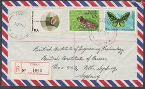 PAPUA NEW GUINEA 1969 Registered cover ex TOBOI.............................M392