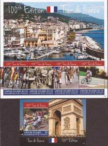 St Vincent Union Isl - 2013 100th Tour de France 4 Stamp Sheet + S/S -