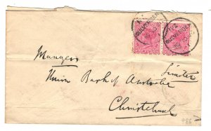 New Zealand Sc#61 Pair Used on Cover to Union Bank of Australia 1896