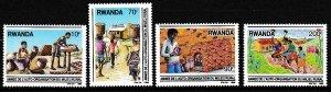 Rwanda 1989 Scott 1334-1337 Rural Organization Yeart MNH