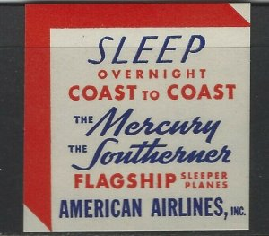 UNITED STATES - AMERICAN AIRLINES, INC FLAGSHIP SLEEPER PLANES POSTER STAMP MLH