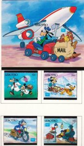 DISNEY LESOTHO 540-544 MINT NH MAIL CARRIERS