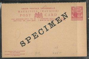 MAURITIUS (P3005B)  ARMS 8C REPLY PSC UNUSED SPECIMEN
