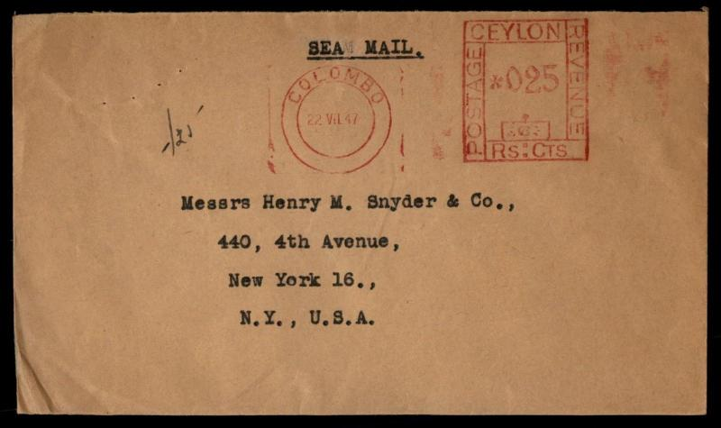 1947 Ceylon Metered Sea Mail Cover To United States