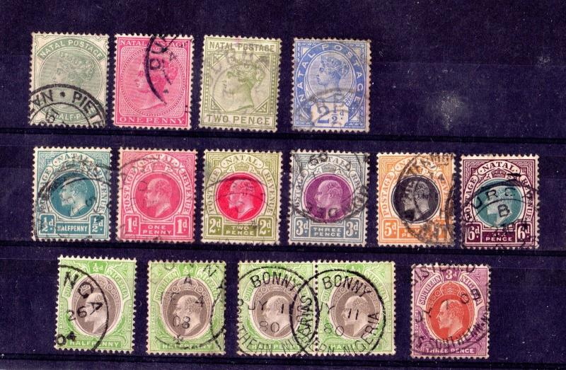 Natal Southern Nigeria QV/KEVII Collection of 15 Values Fine Used X7404
