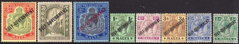 1922 Malta KGV King George V complete set Wmk 3 ML to MH Sc# 71 / 84 CV $417.50