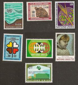 United Nations 15-21 Genf Year Set (7 Briefmarken) MNH 1971