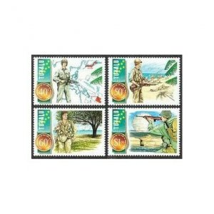 Tuvalu 704-707,MNH.Michel 725-728. End of World War II-50,1995.Atomic mushroom.