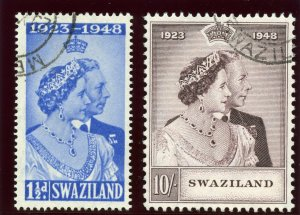 Swaziland 1948 KGVI Silver Wedding set complete VF used. SG 46-47. Sc 48-49.