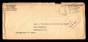 1932 USS Guam Official Cover / China Cancel / Light Creasing & Edge Tears - B81